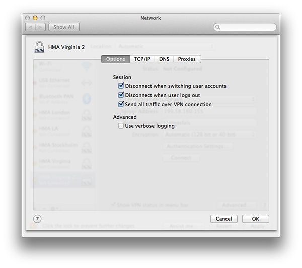 Send all traffic over VPN osx